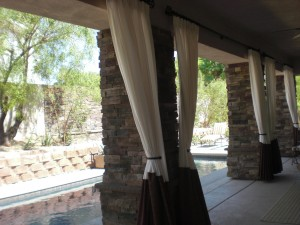Outdoor drapes are just as important to complete a space as indoor drapes