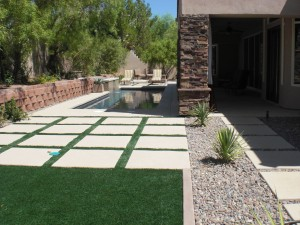 Artificial turf and desert landscaping in our state is commonly used.  Cuts down on water bill and looks great all year long.