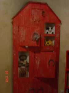 The distressed red barn door in Ireland inspired me to have one made for my son's nursery.